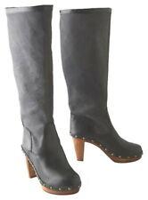 Anthropologie Sanita Clog Boots 7 US 7.5 Smokey Black 7 1/2 Danish Handmade NIB