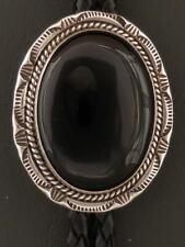 Black Onyx Bolo Tie Sterling Silver Native American Handmade