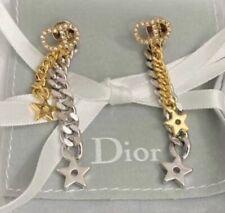 Dior Two Tone Crystal CD Earrings