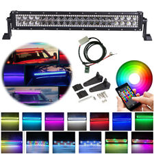"22"" LED LIGHT BAR COMBO RGB Halo Color Changing Chasing Strobe Bluetooth Control"