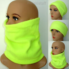 Mens ladies Neck Warmer NEON YELLOW FLUORESCENT HiVis safety fleece scarf ski