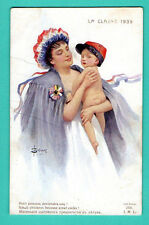 PATRIOTIC WOMAN AND BABY BY SOLOMKO VINTAGE POSTCARD 580