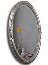 Espejo de Pared Óvalo Plata Barroco madera ORNAMENTACIONES Rendondo baño pomposo