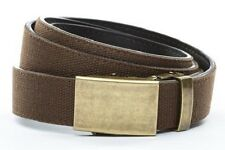 Anson Belt & Buckle. Mens antique gold buckle with HOLELESS  brown canvas strap