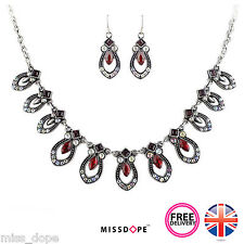 NEW SILVER RED RHINESTONE PEAR DROP NECKLACE EARRING SET VINTAGE SMALL COSTUME