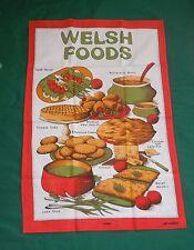 Vtg 1950's WELSH FOODS Kitchen Towel/Wall Hanging Veal heart Rarebit Leek Soup