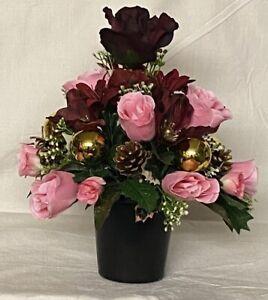 All Round Xmas Artificial/Silk flower Grave Vase memorial Crem pot Hand Made