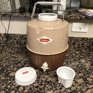 Vintage 2 Gallon Coleman Diamond Logo Water Jug Container Tan & Brown6 410