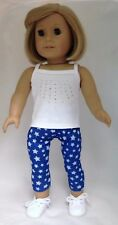 White Tank Top & Blue w/Stars Leggings fits 18 inch American Girl Doll Clothes