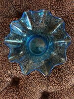 Hand Blown Art Glass Handkerchief Bowl Turquoise Blue Fluted Ruffle