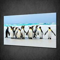 PINGUINS BEACH ANIMALS SEASCAPE CANVAS PRINT WALL ART PICTURE READY TO HANG