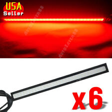 6X Pure Red COB LED DRL Lamps Waterproof Fog Driving Lights Strips