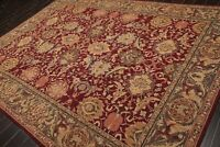 "8'4"" x 11'3"" Nourison Hand Hooked Botanical 100% Wool Oriental Area Rug Burgundy"