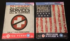 THE PURGE 1 & 2 ANARCHY Limited Blu-Ray SteelBook(s) Region Free New & Sealed.