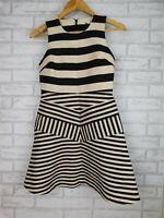 Portmans Signature Fit & flare dress Sleeveless Gold, black stripe Sz 8 Evening