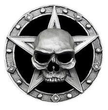 Cráneo CORREA HEBILLA arrepentirse Esqueleto Pentagrama 3D pesado gótico auténtico Pagano