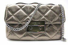Authentic NWT MICHAEL KORS Sloan Small Quilted Leather Small Messenger Lt Nickel