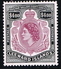 More details for leeward islands 1954 qe ii $4.80 brn-purple & blk with broken scroll lmm sg140a