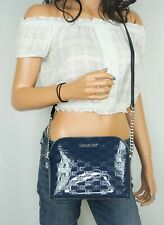 MICHAEL KORS CINDY DOME PVC LEATHER CROSSBODY BAG MIRROR METALLIC MK NAVY