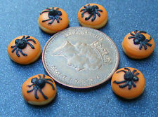 1:12 Scale 7 Loose Black Spider Halloween Cakes Dolls House Bakery Food PL119