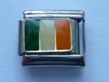 CLASSIC SILVER ITALIAN CHARM IRELAND IRISH FLAG fits all design 9mm bracelet AD6