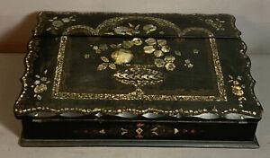 19thC Antique VICTORIAN Era MOTHER of PEARL INLAY Old PAPIER MACHE Box LAP DESK