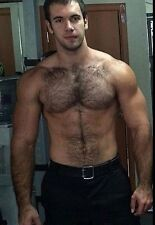 Shirtless Male Muscular Hairy Chest Abs Beefcake Beefy Dude Body PHOTO 4X6 C576