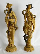 "Japanese Figurines  Man & Woman  Oriental, Asian,  Cockatoo Heron Birds 19"""