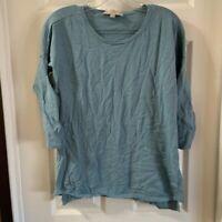 Loft Women's Blue Scoop Neck 3/4 Sleeve Knit Slit Side Top size Small