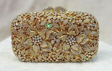 Gold Aurora Borealis 3D Rose Handmade Austrian Crystal Evening Cocktail Bag