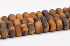 """6x4MM Natural Matte Yellow Tiger Eye Grade AAA Rondelle Loose Beads 15"""""""
