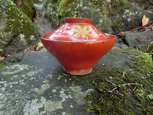 Japanese antique bowl with lid rare desigh old feeling signed character