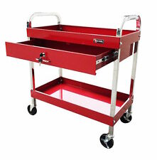 Rolling Tool Cart Metal Work Table Mechanic Shop Garage Bench 30 Inches Red
