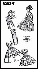 "Barbie 11.5"" Vintage Fashion TEEN DOLL Fabric Sewing Pattern Mail Order # 8203-T"