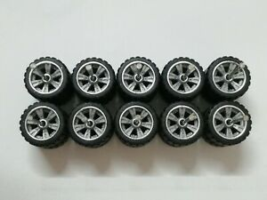 HOT WHEELS MBX REAL RIDERS WHEELS RUBBER TIRES PICK-UP WHEELS 12MM 5 SETS GREY