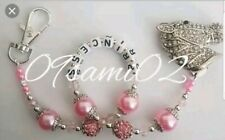 Personalised Girls ❤ Bling Dummy Clip, Pearl & Crystal ❤ Romany❤ Diamante Horse