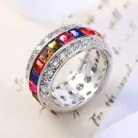 Band Woman Multi Color Amethyst Peridot Garnet Gemstone Silver Ring Size 6-10