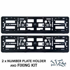 2x Black Number Plate Surrounds Holder Frame For Van + Free Fixing Screws