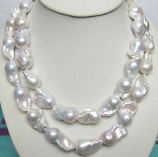 """huge! 15-20mm Real Natural South Classic Baroque White Akoya Pearl Necklace 36"""""""