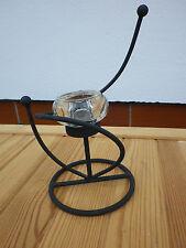 Teelichthalter Kerzenhalter Metall matt gedreht mit Glasteil 21 cm ri281