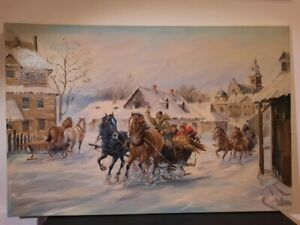 20th cent  Antique/Vintage Oil painting on canvas by Polish artist Josef Capiga