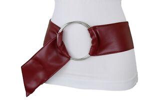 Women Dark Red Wine Burgundy Waistband Belt Metal Ring Buckle 70's Look S M L