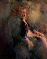 "16x20"" Original Jeff Barnes Vintage Oil Painting Live Model Seated Woman: Sienna"