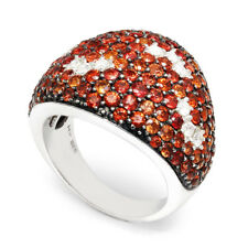 Orangish Red Sapphire Cluster Ring with Diamonds 14K White & Black Gold 5.50ctw