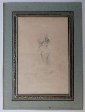 Beau Dessin Ancien Étude Femme ETIENNE CHARLES LEGUAY c.1800 #2