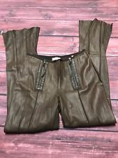 """Benedetta Novi Italy Brown Leather Pleated Flare Trousers Pants Size 44 / 28"""" US"""