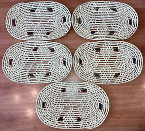 Wicker Straw Set of 5 Oval Place Table Mats Boho Vintage Cottagecore Used