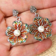 E739  Boucles d'oreilles  Argent 925 émail perles & marcassites