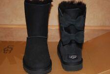 UGG Meilani Short Black Suede/Sheepskin Bow Boots US 6 Women's 1012981