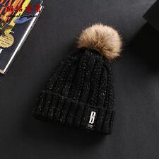 Fashion Women Lady Faux Fur Ball Winter Warm Hat Crochet Knitted Beanie Cap